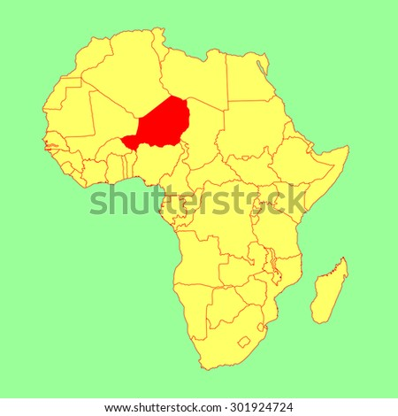 Niger vector map isolated on Africa map. Editable vector map of Africa. - stock vector