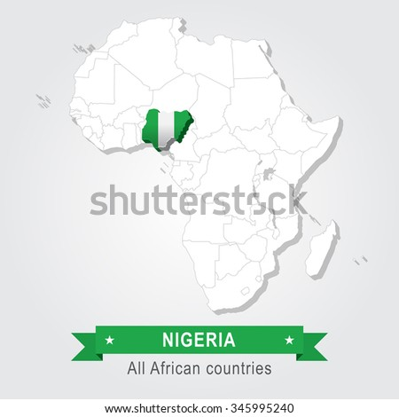 Nigeria. All the countries of Africa. Flag version. - stock vector
