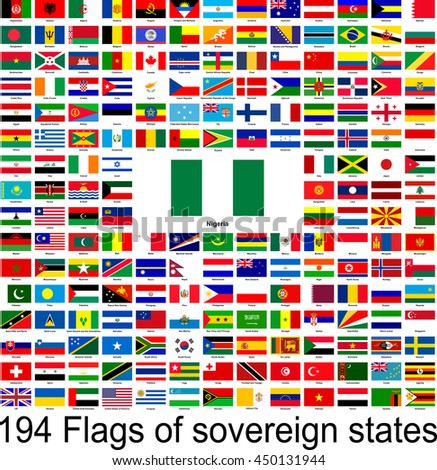 Nigeria, collection of vector images of flags of the world