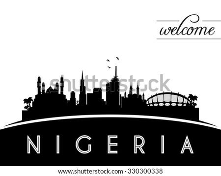 Nigeria skyline silhouette, black and white design, vector illustration - stock vector