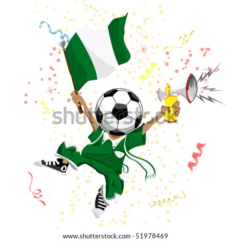 Nigeria Soccer Fan with Ball Head. Editable Vector Illustration - stock vector