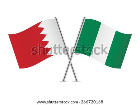 Nigerian and Bahrain flags. Vector illustration.