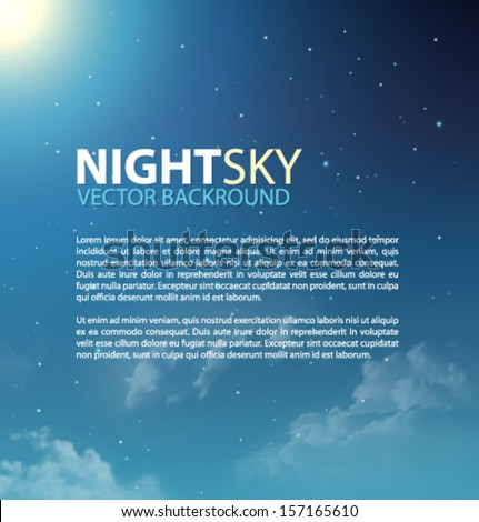 Nigh sky with stars and clouds for your presentation. Vector illustration. - stock vector