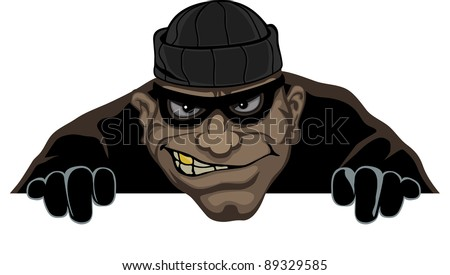 Night a thief wearing a mask prepares to steal - stock vector