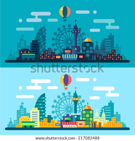 Night and day city landscape. Skyline with the Ferris wheel and skyscrapers. Vector flat illustrations - stock vector