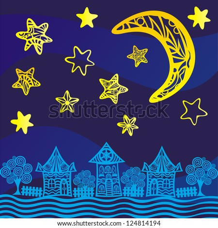 Night background houses moon stars vector illustration