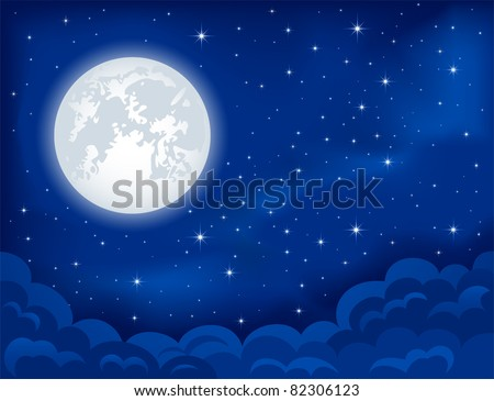 Night background, Moon, Clouds and shining Stars on dark blue sky, illustration
