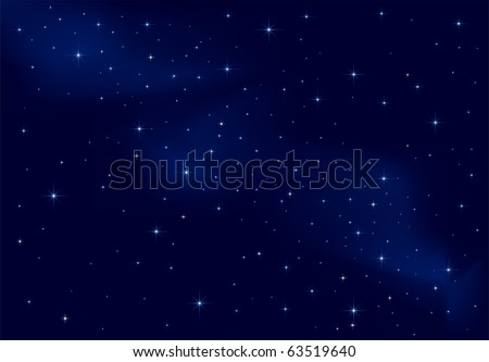 Night background, shining Stars on dark blue sky, illustration - stock vector
