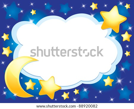 night background with a moon and stars - stock vector