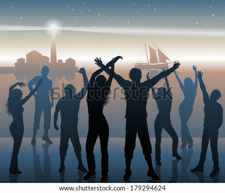 night beach party background - stock vector