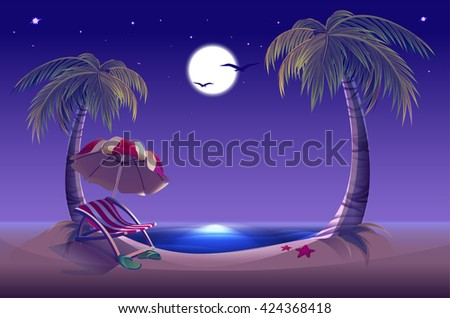 Night beach. Sea, moon, palm trees and sand. Romantic summer vacation. Illustration in vector format - stock vector