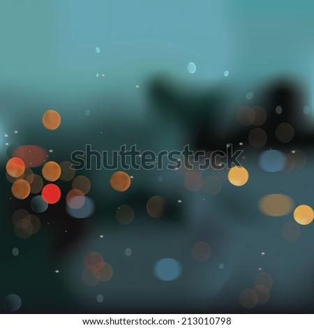 Night bokeh background vector , Sunset and bokeh vector - stock vector