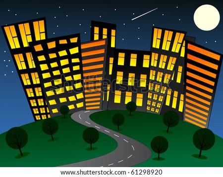 Night cartoon city. Vector illustration - stock vector