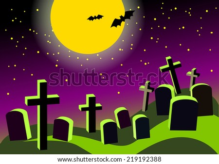 Night cemetery background with a crooked crosses and tombstones and the moon for Halloween party - stock vector