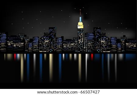 night city - stock vector