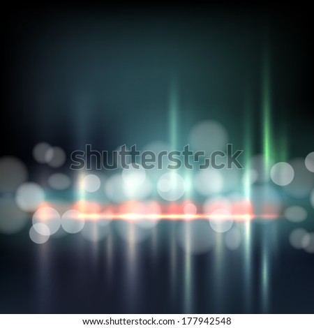 Night City Abstract Bokeh Background  - stock vector