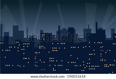 Night city background. Vector illustration - stock vector