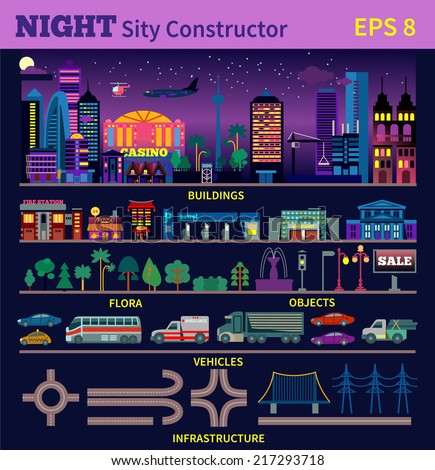 Night city constructor. Make your own city in the night time.Buildings, transportation,infrastructure and many other design elements in modern flat style. Vector illustration - stock vector