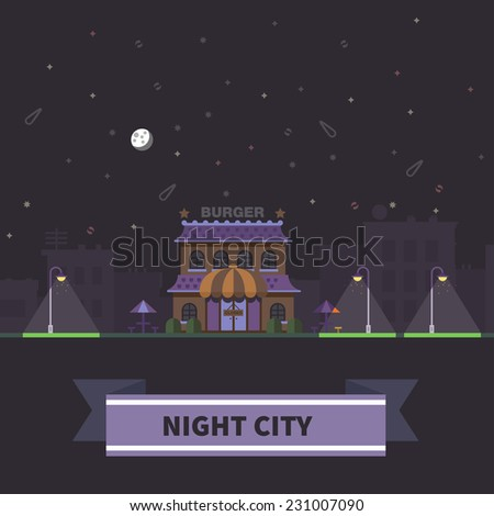 Night city landscape. Park. Closed shop or restaurant. Vector flat illustration - stock vector