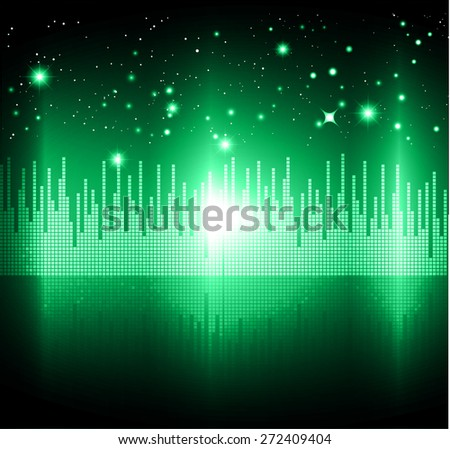 Night city light. dark green sky background. star. vector. Sound waves oscillating. volume. technology.