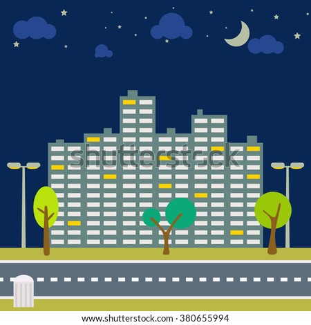 Night city scape panorama. Horizontal downtown outdoor view with moon and stars on sky. Trees and lanterns on the sidewalk and road in front. High-rise building in the evening street. - stock vector