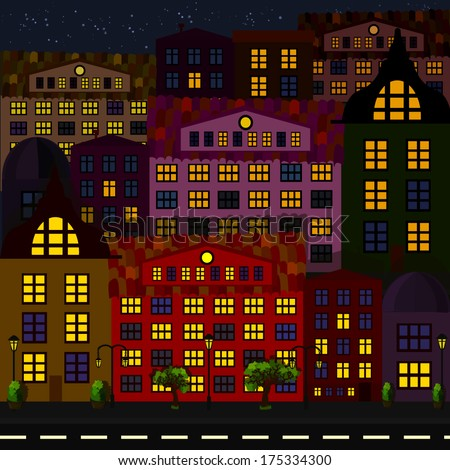 night city. seamless background. Vector