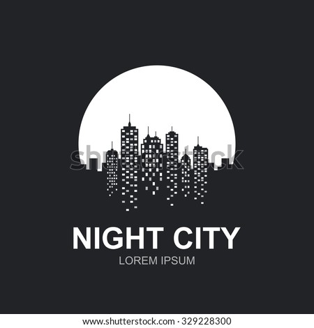 Night city skyline at full moon icon. - stock vector