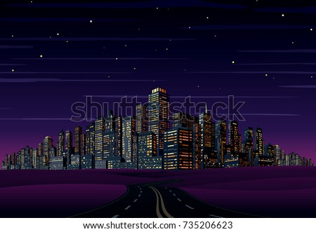 Night City Skyline. Cityscape Vector