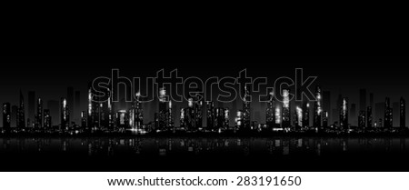 Night city skyline.  Linear seamless pattern. Vector