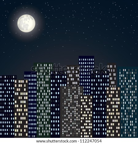 night city skyline with moon and stars - stock vector