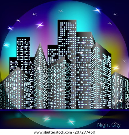 Night city skyline with stars, vector illustration - stock vector