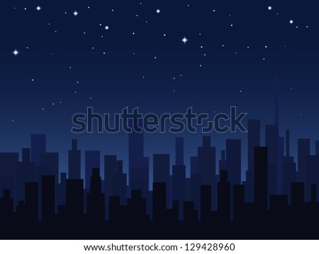 Night city vector illustration. - stock vector