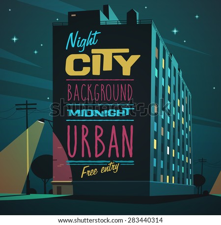 Night city. Vector illustration. - stock vector