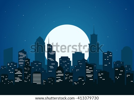 Night city vector illustration. Dark urban scape. Night cityscape in flat style. Night city skyline abstract background. Modern night city landscape.  - stock vector