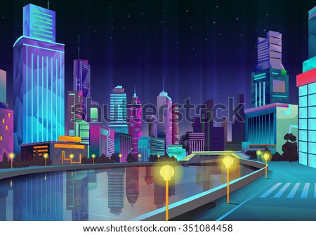 Night city, vector illustration low poly style - stock vector