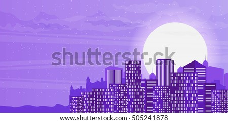 Night cityscape in flat style.