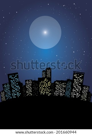 Night cityscape with starry sky vector illustration - stock vector