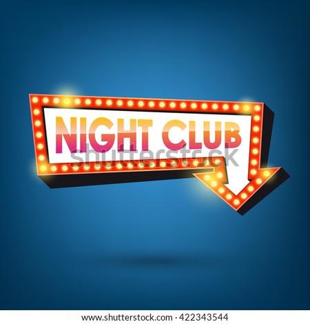 Night club billboard. Retro arrow light frames. - stock vector
