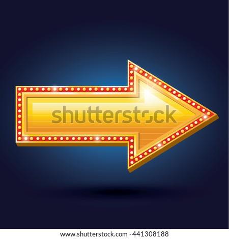 Night club billboard retro arrow light frames - stock vector
