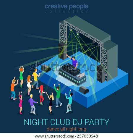 Night club dance DJ party flat 3d web isometric infographic concept vector template. Performance electronic music concept Dee-Jay set. Group young men girls dancing scene. Creative people collection. - stock vector