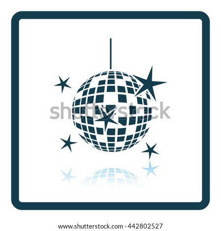 Night clubs disco sphere icon. Glossy button design. Vector illustration.