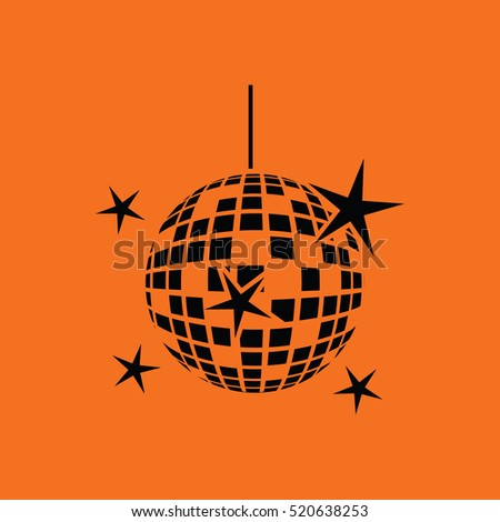 Night clubs disco sphere icon. Orange background with black. Vector illustration.