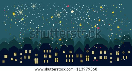 Night cute city - stock vector