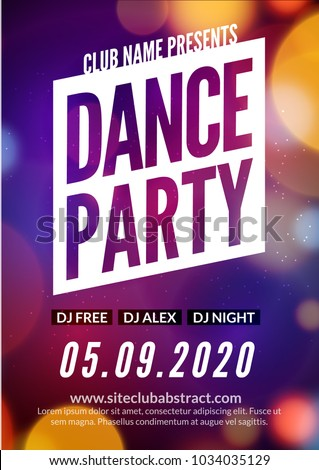 Night Dance Party Music Poster Template Electro Style Concert Disco Club Event Flyer