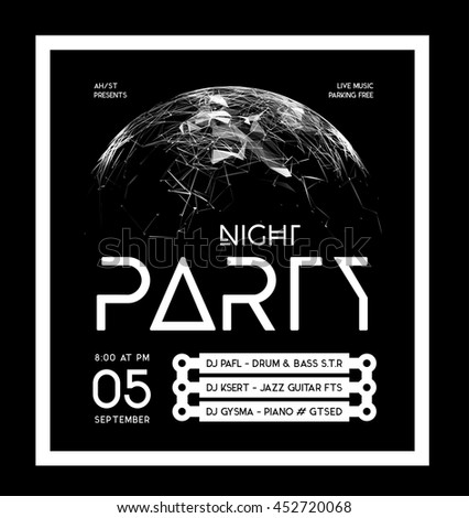 Night Disco Party Poster Background - stock vector