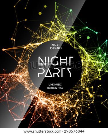 Night Disco Party template. Party background. Disco party template. Square business card template, paper sheet, information, text. Print party design. Night party poster. Template vector design.  - stock vector
