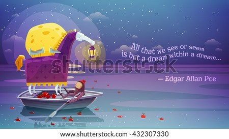 Night dream surreal horse with lantern in boat with yellow moon and poetry verse background abstract vector illustration  - stock vector