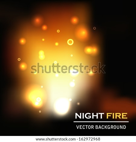 night fire background vector - stock vector