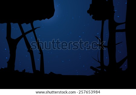 Night forest and the starry sky - vector illustration - stock vector