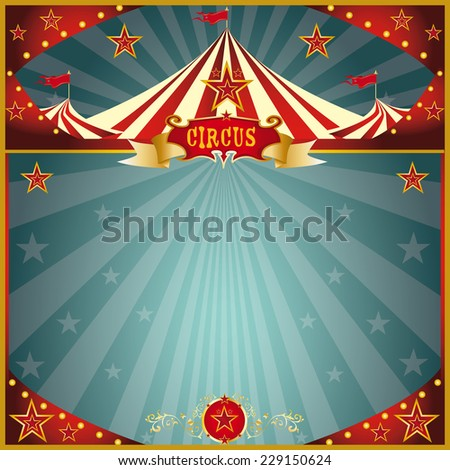 Night fun circus square. A circus greeting square card for you. - stock vector